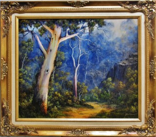 An Oil painting by JOHN COCORIS in the Realist style  depicting Landscape Fantasy Farmland and Hills with main colour being Blue and titled DOWN IN THE VALLEY