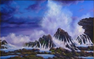An Oil painting by JOHN COCORIS in the Realist style  depicting Seascape Beach Fantasy and Rocks with main colour being Blue and titled SEA SPRAY