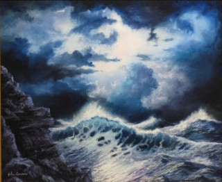 An Oil painting by JOHN COCORIS in the Realist style  depicting Seascape Boats Fantasy and Rocks with main colour being Blue and titled SEA STORM
