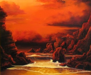 An Oil painting by JOHN COCORIS in the Realist style  depicting Seascape Beach Fantasy and Rocks with main colour being Red and titled RED SKY SUNSET