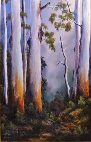 An Oil painting by JOHN COCORIS in the Realist style  depicting Landscape Bush Fantasy and Garden with main colour being Brown and titled GUMTREES AFTER THE RAIN