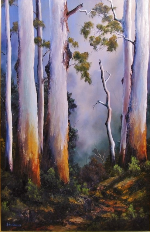 Oil Painting by JOHN COCORIS titled GUMTREES AFTER THE RAIN