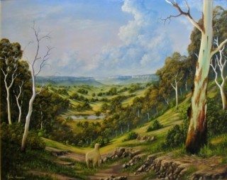 An Oil painting by JOHN COCORIS in the Realist style  depicting Landscape Animals Bush and Fantasy with main colour being Green and titled THE LOST SHEEP IN THE SCRUB