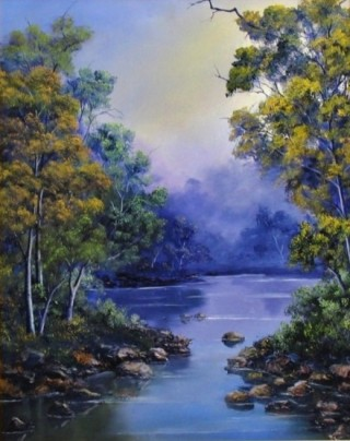 An Oil painting by JOHN COCORIS in the Realist style  depicting River Bush Creek and Fantasy with main colour being Blue and titled CALM WATERS
