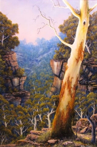 An Oil painting by JOHN COCORIS in the Realist style  depicting Landscape Bush Fantasy and Mountains with main colour being Brown and titled VALLEY MORNING DEW
