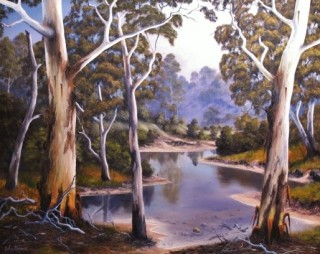 An Oil painting by JOHN COCORIS in the Realist style  depicting River Bush Farmland and Lake with main colour being Brown and titled SHALLOW  RIVER