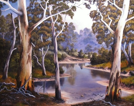 Oil Painting by JOHN COCORIS titled SHALLOW  RIVER