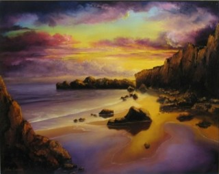 An Oil painting by JOHN COCORIS in the Realist style  depicting  Beach Fantasy and Mountains with main colour being Gold and titled GOLDEN SUNSET