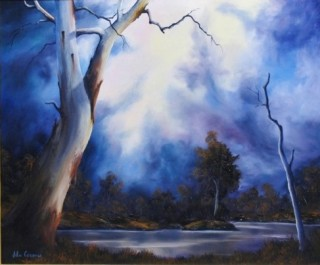 An Oil painting by JOHN COCORIS in the Realist style  depicting Landscape Bush Lake and River with main colour being Blue and titled BLUE MOOD
