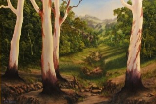 An Oil painting by JOHN COCORIS in the Realist style  depicting Landscape Bush Fantasy and Interior with main colour being Green and titled DRY CREEK