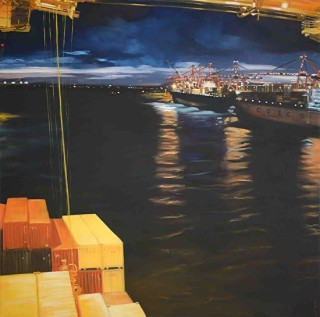 An Oil painting by Karen Bloomfield in the Realist style  depicting Water Boats with main colour being Blue and titled Stevedores