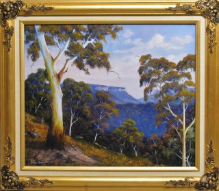 An Oil painting by JOHN COCORIS in the Realist style  depicting Trees Fantasy Hills and Mountains with main colour being Blue and titled MOUNTAIN VIEW