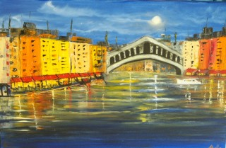 An Oil painting by Belinda Jane McDonnell in the Impressionist style  depicting Water Bridge and City with main colour being Black Blue and Cream and titled Romantic Waterways of Venice