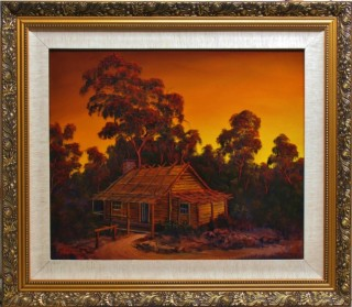 An Oil painting by JOHN COCORIS in the Realist style  depicting Seascape Buildings Fantasy and Mountains with main colour being Orange and titled PIONEERS LOG CABIN