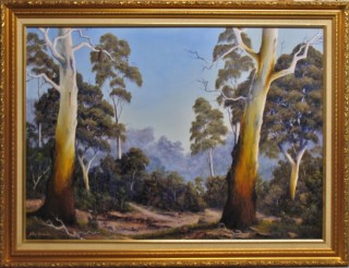 An Oil painting by JOHN COCORIS in the Realist style  depicting Landscape Bush Fantasy and Mountains with main colour being Brown and titled THE SCENT OF GUMTREES
