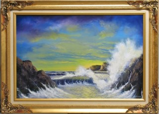 An Oil painting by JOHN COCORIS in the Realist style  depicting Seascape Beach Fantasy and Rocks with main colour being Gold and titled YELLOW LIGHT