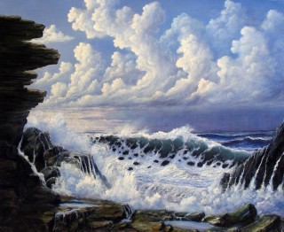 An Oil painting by JOHN COCORIS in the Realist style  depicting Seascape Boats Rocks and Sea with main colour being Blue and titled STORM APPROACH