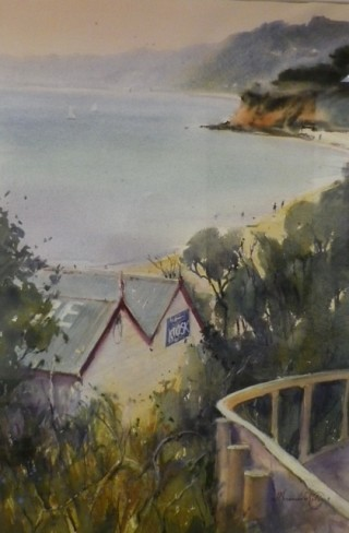 A Watercolour artwork by Annee Kelly in the Impressionist style  depicting Landscape Beach Hills and Sheds with main colour being Blue Cream and Olive and titled A New Dawn, Mornington