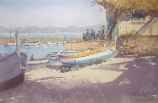 A Watercolour artwork by Annee Kelly in the Impressionist style  depicting Landscape Beach Boats and Buildings with main colour being Blue Cream and Ochre and titled Old Faithful, South of France