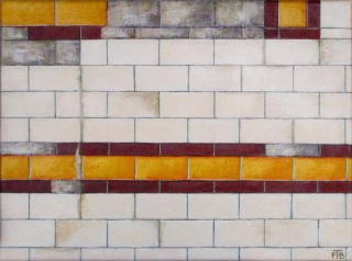 An Acrylic painting by Pauline Bailey in the Contemporary Realist style  depicting Buildings and City with main colour being White and Yellow and titled Flinders Street Station - detail