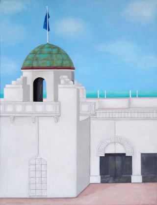 An Acrylic painting by Pauline Bailey in the Contemporary Realist style  depicting Buildings Beach and City and titled St Kilda Sea Baths