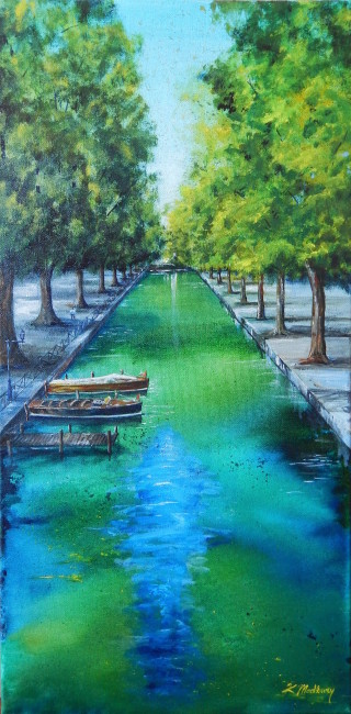 An Acrylic painting by Kathy Medbury in the Realist style  depicting Water Boats and Trees with main colour being Black and Green and titled Tranquility