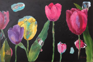 A Mixed Media painting by Janette Giacobbe in the Semi-Abstract style  depicting Flowers with main colour being Black Green and Pink and titled Tulips 2