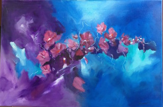 An Acrylic painting by Janette Giacobbe in the Contemporary style  depicting Flowers with main colour being Blue and Purple and titled Rambler