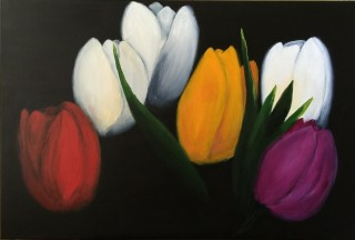 An Acrylic painting by Janette Giacobbe in the Realist style  depicting Flowers with main colour being Black Orange and Purple and titled Tulips