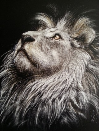 A Scratchboard painting by Jan Lowe in the Realist style  depicting Animals with main colour being Black Grey and Ochre and titled Ode to Cecil