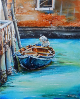 An Acrylic painting by Kathy Medbury in the Realist style  depicting Boats with main colour being Black Blue and Ochre and titled Come ride with me - Venice