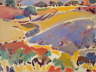 An Oil painting by Melissa Silver depicting Rural Farmland and Hills with main colour being Blue Cream and Ochre and titled Blue Hill