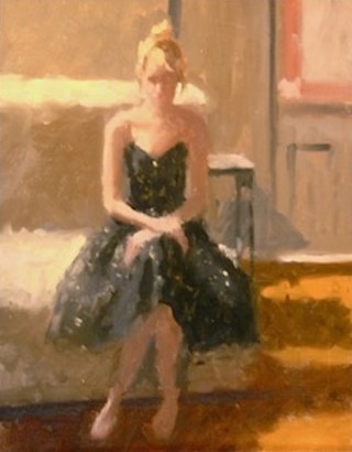 An Oil painting by Don James in the Impressionist style  depicting Portrait Woman with main colour being Black Brown and Cream and titled The Black Dress
