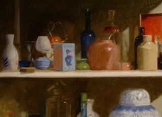 An Oil painting by Don James in the Impressionist style  depicting Still Life Bottles Clay Pots and Interior and titled Mr Plod The Policeman