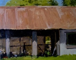 An Oil painting by Don James in the Impressionist style  depicting Landscape Rural and Sheds with main colour being Black Green and Grey and titled The Stables Montsalvat