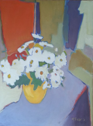 An Oil painting by Melissa Fraser depicting Flowers Interior and Vases with main colour being Ochre Orange and Purple and titled Daisies