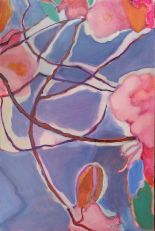 An Oil painting by Melissa Fraser depicting Trees Flowers Garden and Oriental with main colour being Blue Ochre and Pink and titled Hakone Sky