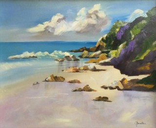 An Acrylic painting by Janette Giacobbe in the Impressionist style  depicting Beach with main colour being Blue and Cream and titled Quiet Beach