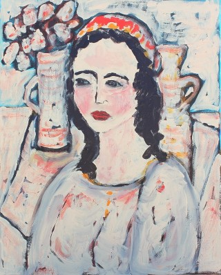 An Acrylic painting by Julie Rooney in the Contemporary style  depicting Portrait Woman with main colour being Cream Pink and Red and titled Girl with Red Scarf