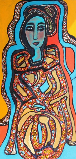 An Acrylic painting by Julie Rooney in the Contemporary style  depicting Woman with main colour being Blue and titled Blue Lady