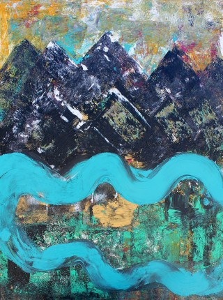An Acrylic painting by Julie Rooney in the Contemporary style  depicting Landscape River and titled Mountain River