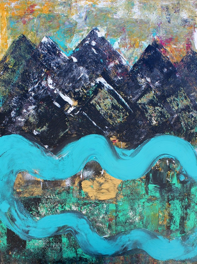 Acrylic Painting by Julie Rooney titled Mountain River
