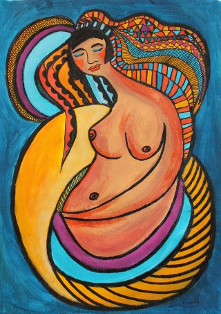 An Acrylic painting by Julie Rooney in the Contemporary style  depicting People with main colour being Blue Pink and Yellow and titled Woman Resting