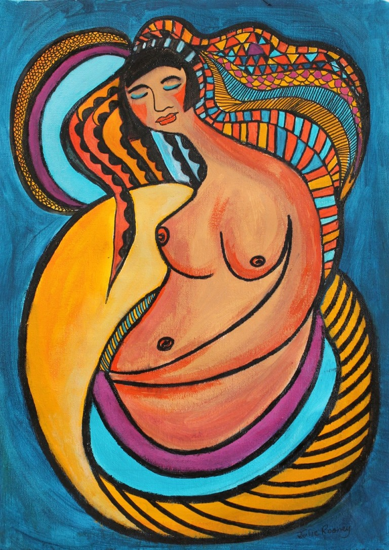 Acrylic Painting by Julie Rooney titled Woman Resting