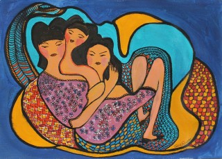 An Acrylic painting by Julie Rooney in the Contemporary style  depicting People and titled Sisters