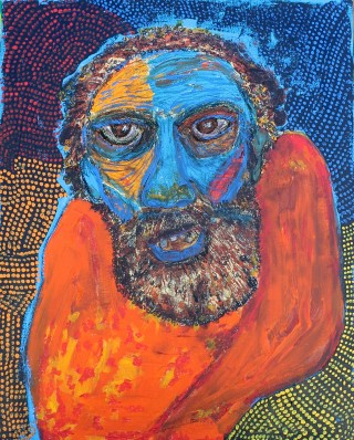 An Acrylic painting by Julie Rooney in the Contemporary style  depicting People with main colour being Blue and Orange and titled Down And Out in Brunswick