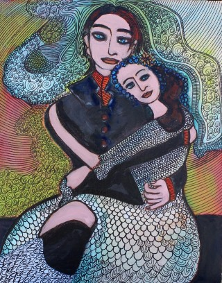 An Acrylic painting by Julie Rooney in the Contemporary style  depicting  People and titled Bride and Groom