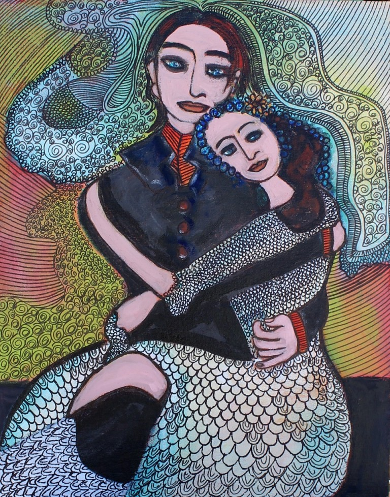 Acrylic Painting by Julie Rooney titled Bride and Groom