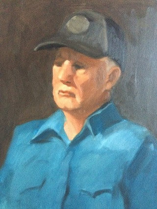 An Oil painting by Kathryn Morgana-Aprile in the Realist style  depicting Man with main colour being Blue Brown and Grey and titled Portrait of a man
