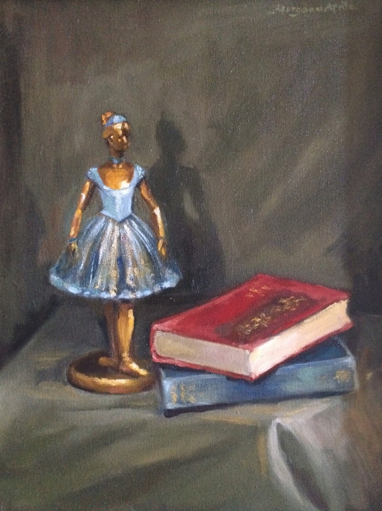 Oil Painting by Kathryn Morgana-Aprile titled Degas figurine & books